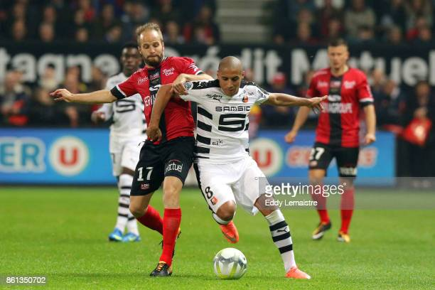 Etienne Didot of Guingamp and Wahbi Khazri of Rennes during the Ligue 1 match between EA Guingamp and Stade Rennais at Stade du Roudourou on October...