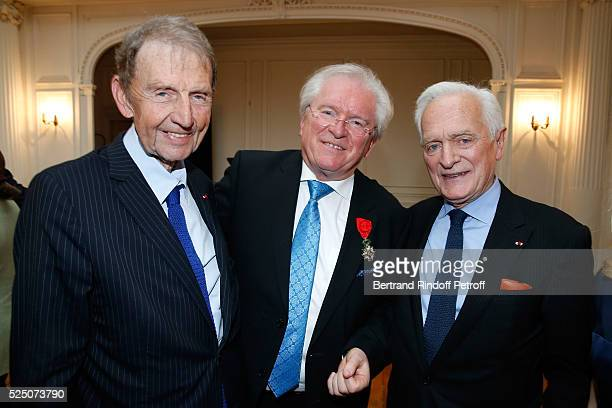 Etienne Mougeotte Alain Duault and Philippe Labro attend as Alain Duault is honored with the Insignia of Officer of the Legion of Honor at Salle...