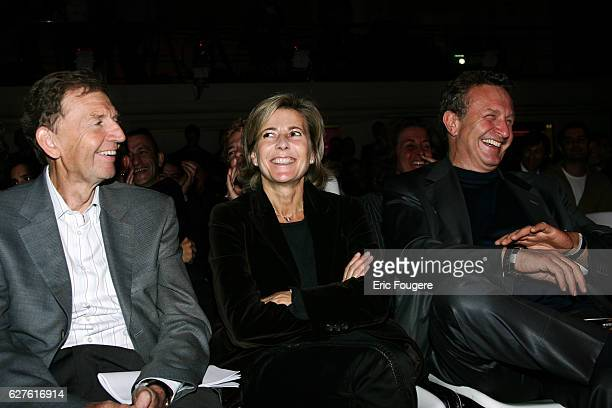 Etienne Mougeotte Claire Chazal and Michel Field attend the press conference of Pink TV