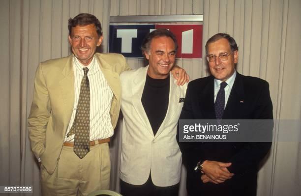 Etienne Mougeotte Laurent Cabrol et Patrick Le Lay lors de la presentation de la grille de rentree de TF1 le 25 aout 1992 a Paris France