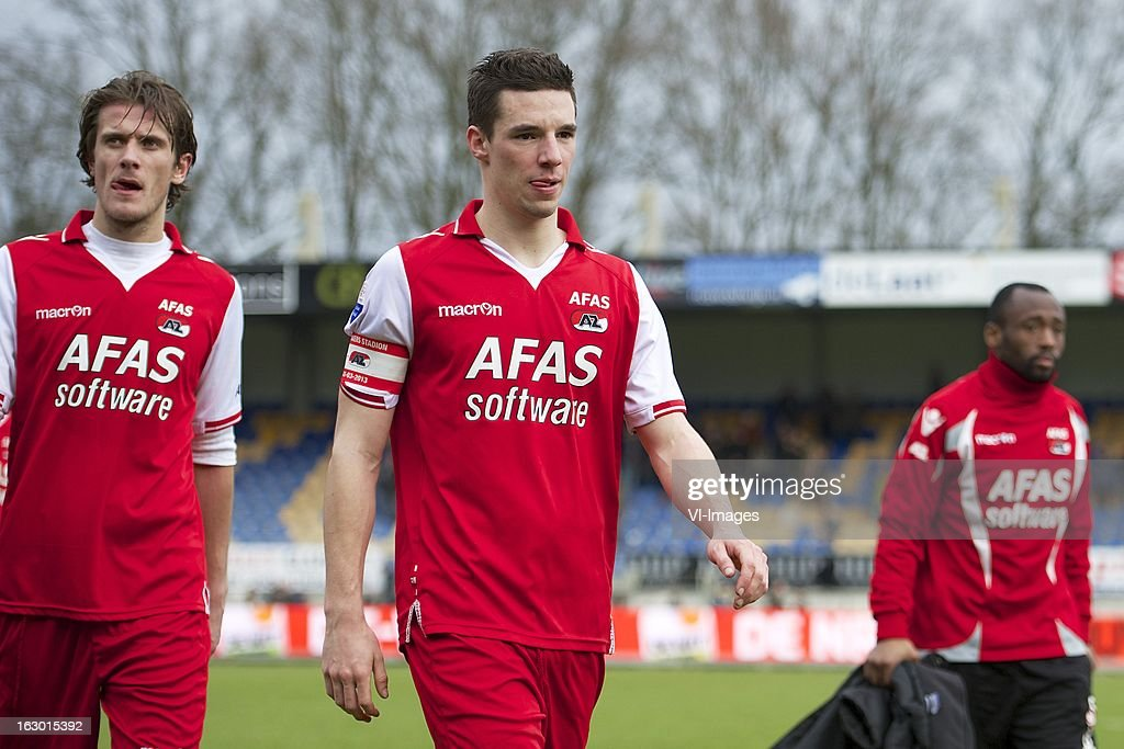 Etienne Reijnen of AZ, Nick Viergever of AZ, Willie Overtoom of AZ during the Dutch Eredivisie match between RKC Waalwijk and AZ Alkmaar at the Mandemakers Stadiumon march 03, 2013 in Waalwijk, The Netherlands