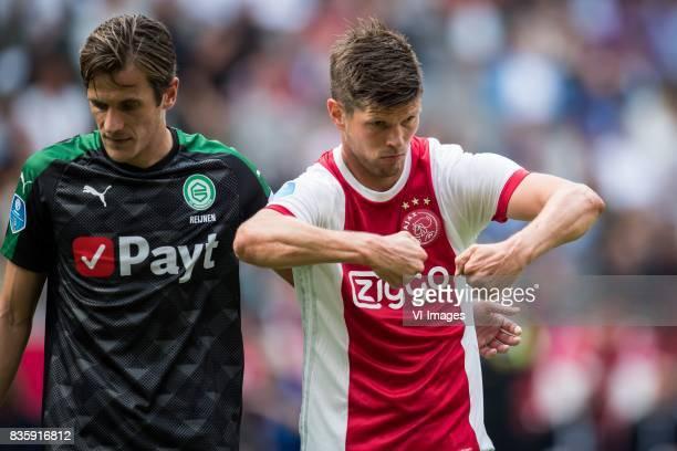 Etienne Reijnen of FC Groningen Klaas Jan Huntelaar of Ajax during the Dutch Eredivisie match between Ajax Amsterdam and FC Groningen at the...