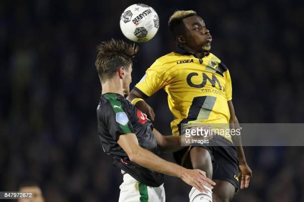 Etienne Reijnen of FC Groningen Thierry Ambrose of NAC Breda during the Dutch Eredivisie match between NAC Breda and FC Groningen at the Rat Verlegh...