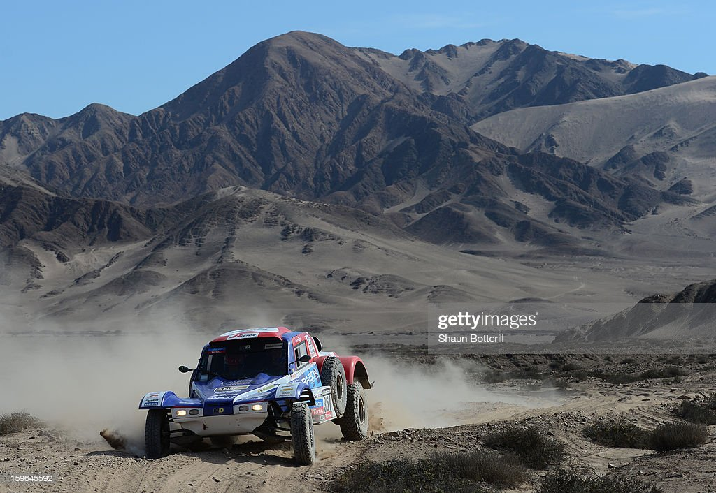 Etienne Smulevici and co-driver Franck Maldonado of team Proto Eurorepar compete in stage 12 from Fiambala to Copiapo during the 2013 Dakar Rally on January 17, 2013 in Fiambala, Argentina.