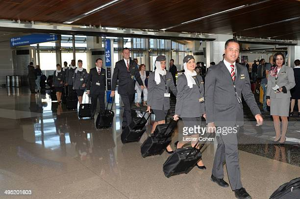 Etihad Airways flight EY170 cabin crew boards inaugural flight from Los Angeles to Abu Dhabi at Los Angeles International Airport on June 1 2014 in...