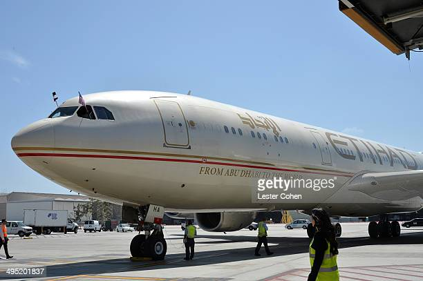 Etihad Airways' inaugural flight EY171 arrives in Los Angeles from Abu Dhabi at the launch of Etihad Airways' daily service from Los Angeles to Abu...