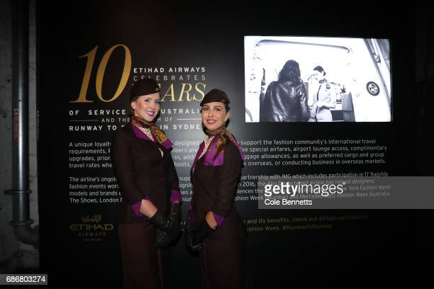 Etihad Cabin crew pose during the Ellery X Etihad Airways 10YRS event at MercedesBenz Fashion Week Resort 18 Collections at the Elston Room...