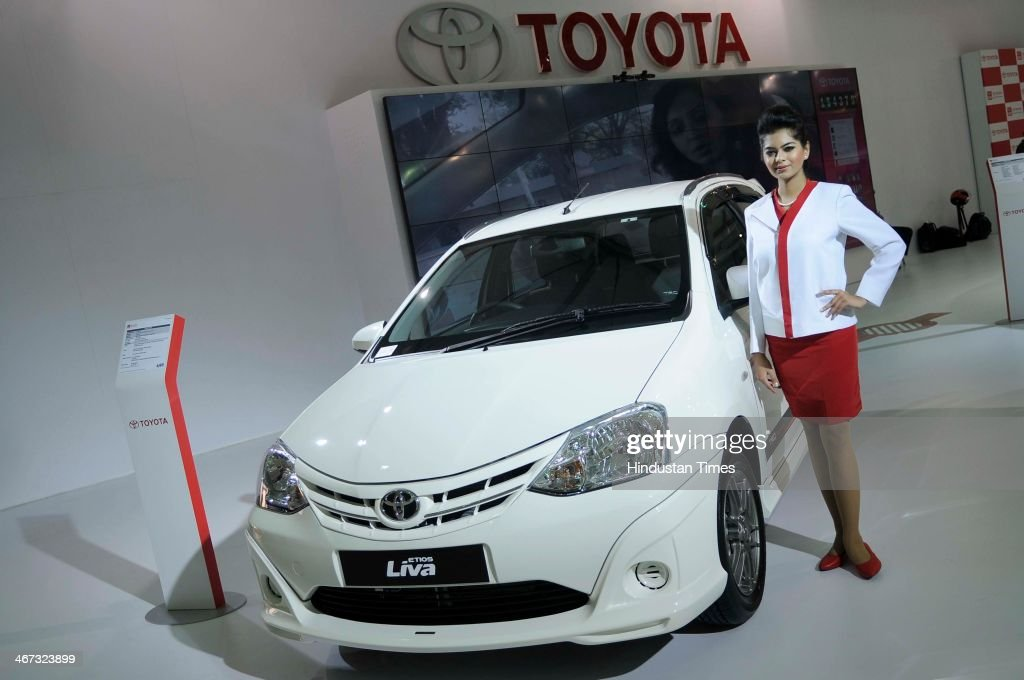 Etios Liva car displayed in the pavilion of Toyota Kirloskar Motors during the 12th Auto-Expo 2014 at India Expo Mart on February 6, 2014 in Greater Noida, India.