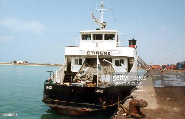 'Etireno' suspected of transporting child slaves lies docked in the port of Cotonou 17 April 2001 The odyssey of 147 passengers including at least 23...