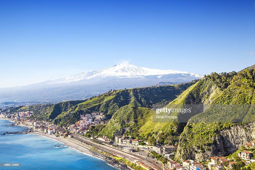 Etna volcano seen from Taormina