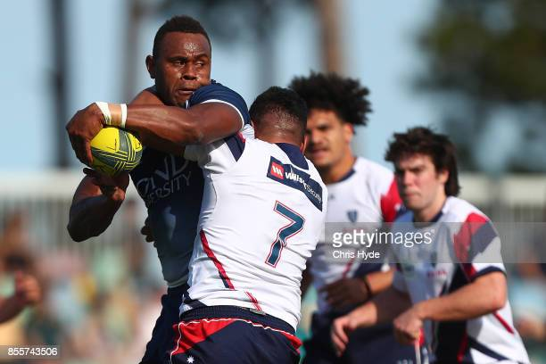 Eto Nabuli of Queensland Country is takled during the round five NRC match between Queensland Country and Melbourne at Bond University on September...