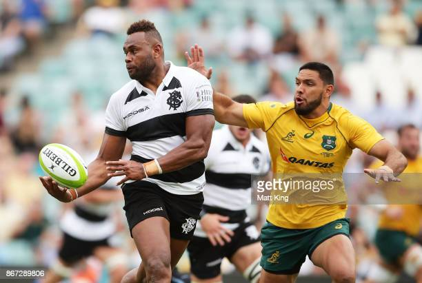 Eto Nabuli of the Barbarians passes during the match between the Australian Wallabies and the Barbarians at Allianz Stadium on October 28 2017 in...