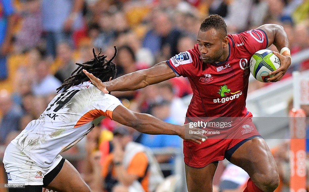 Eto Nabuli of the Reds breaks away from the defence during the round 10 Super Rugby match between the Reds and the Cheetahs at Suncorp Stadium on April 30, 2016 in Brisbane, Australia.