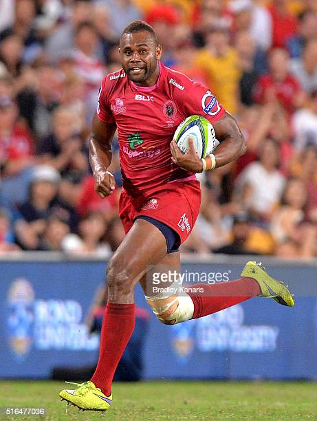 Eto Nabuli of the Reds in action during the round four Super Rugby match between the Reds and the Blues at Suncorp Stadium on March 19 2016 in...