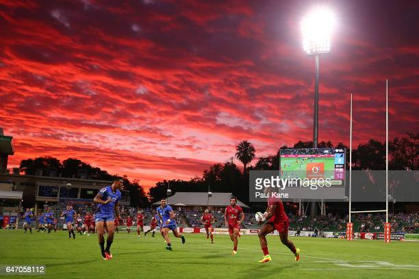 Eto Nabuli of the Reds runs the ball during the round two Super Rugby match between the Western Force and the Reds at nib Stadium on March 2 2017 in...