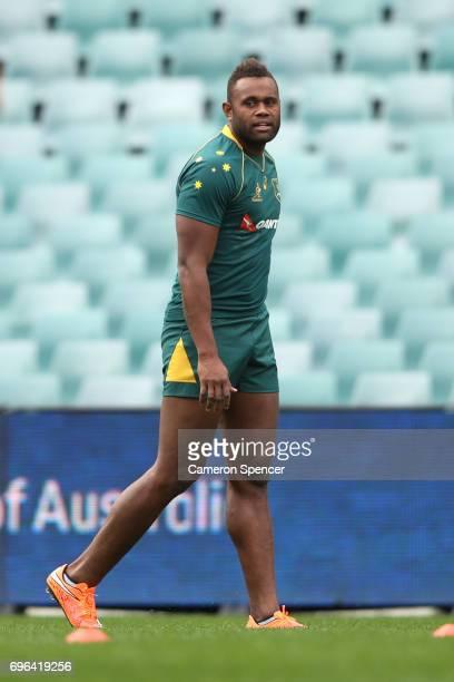 Eto Nabuli of the Wallabies looks on during the Australian Wallabies Captain's Run at Allianz Stadium on June 16 2017 in Sydney Australia
