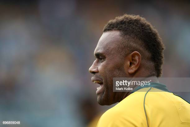 Eto Nabuli of the Wallabies watches on during the International Test match between the Australian Wallabies and Scotland at Allianz Stadium on June...