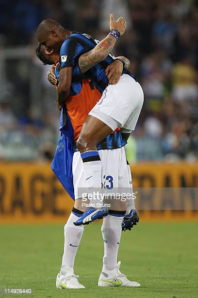 Eto' with his teammate Marco Materazzi of FC Internazionale Milano celebrate after scoring the opening goal during the Tim Cup final between FC...