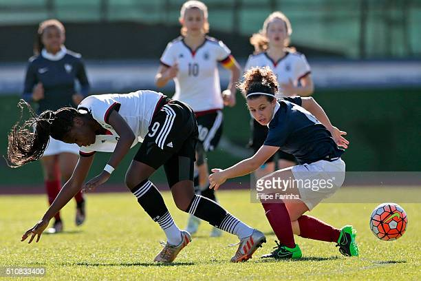 Etonam Nicole Anyomi of Germany challenges Cloé Philippe of France during the match of the U16 Girl's Germany v U16 Girl's France UEFA Tournament on...