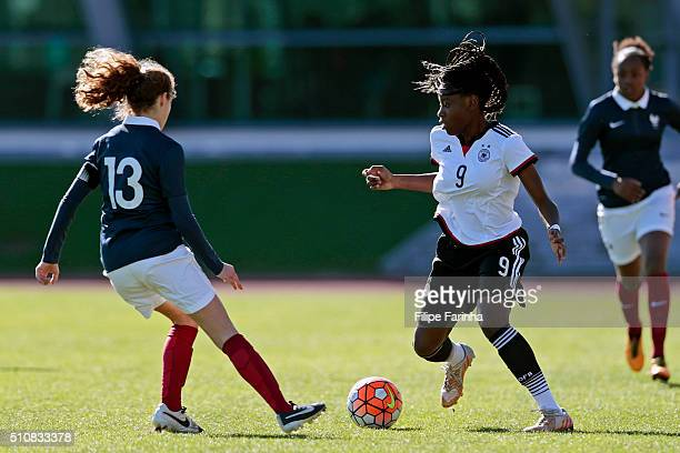 Etonam Nicole Anyomi of Germany challenges Lauréne Martin of France during the match of the U16 Girl's Germany v U16 Girl's France UEFA Tournament on...