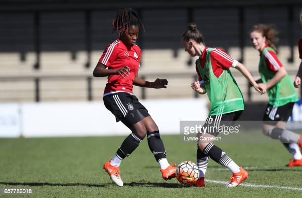 Etonam Nicole Anyomi of Germany warms up before the Germany v Italy U17 Girl's Elite Round at Keys Park on March 25 2017 in Cannock England