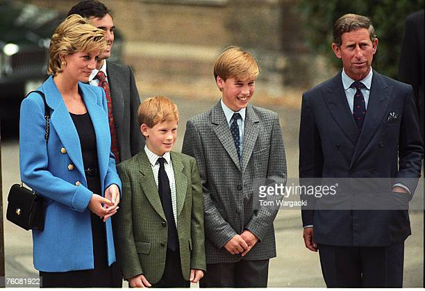 EtonEngland September 6 1995 Princess Diana Prince Harry Prince William Prince Charles at Prince William first day at Eton