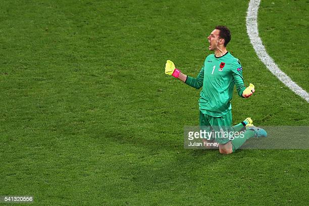 Etrit Berisha of Albania reacts during the UEFA EURO 2016 Group A match between Romania and Albania at Stade des Lumieres on June 19 2016 in Lyon...