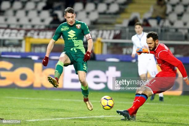 Etrit Berisha of Atalanta Bergamasca Calcio and Andrea Belotti of Torino Fc in action during the Serie A match between Torino Fc and Atalanta...