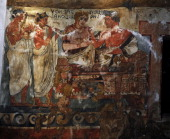 Etruscan Art Copy of Etruscan wall painting Tempera on canvas 1900 Tomb of the Shields Tarquinia Italy c 350 BC Velhur Velcha and his wife Ravnthu...