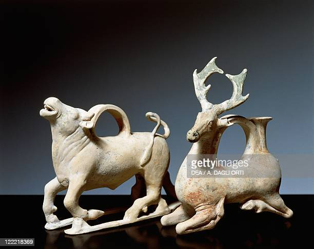 Etruscan civilization 4th century bC Terracotta askos with animal figures From the Valle Trebba