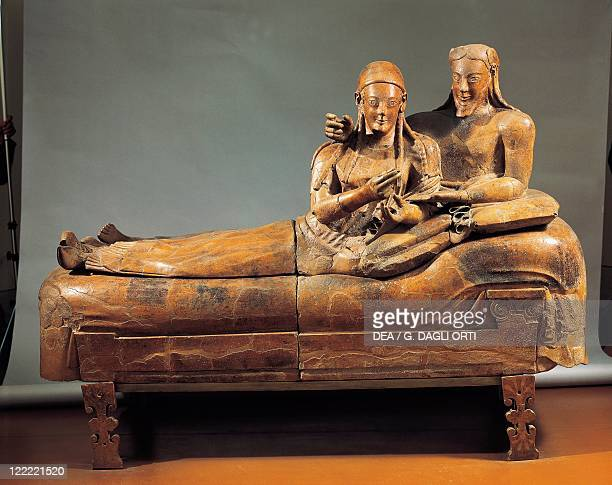 Etruscan civilization 6th century bC Painted terracotta Sarcophagus of the Spouses 520 bC From Cerveteri