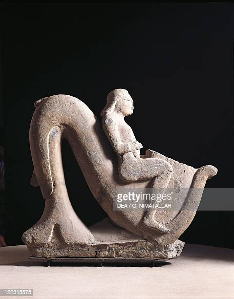 Etruscan civilization 6th century bC Sculpture in nenfro depicting a youth riding a hippocampus From Vulci Montalto di Castro Viterbo Province Italy