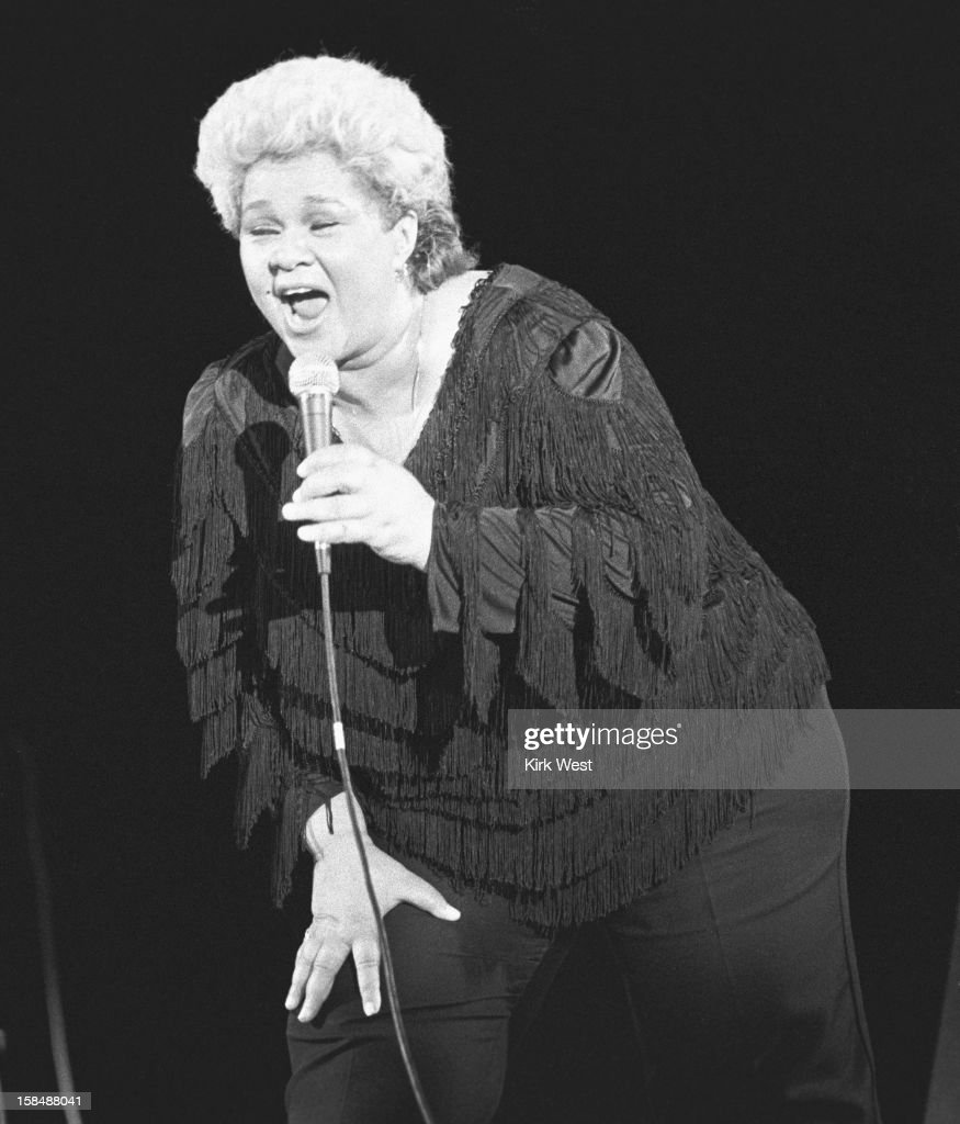 Etta James performs at the Chicago Blues Fest, Chicago, Illinois, June 9, 1985.