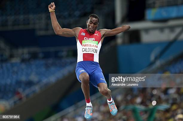 Ettiam Calderon of Cuba competes during the Men's Long Jump T47 final at Olympic Stadium on day 7 of the Rio 2016 Paralympic Games at on September 14...