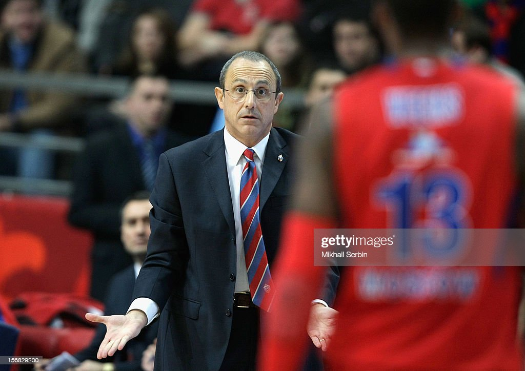 Ettore Messina, Head Coach of CSKA Moscow in action during the 2012-2013 Turkish Airlines Euroleague Regular Season Game Day 7 between CSKA Moscow v Partizan mt:s Belgrade at Megasport Sports Palace on November 22, 2012 in Moscow, Russia.