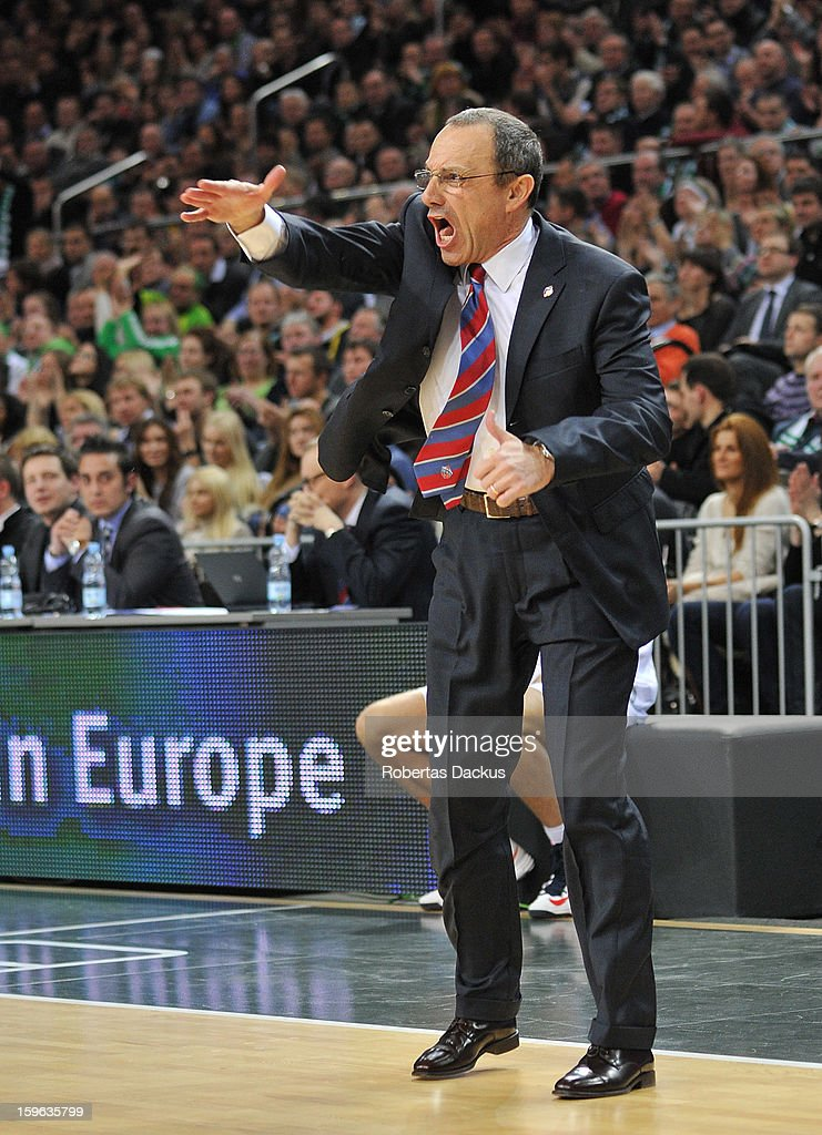 Ettore Messina, Head Coach of CSKA Moscow in action during the 2012-2013 Turkish Airlines Euroleague Top 16 Date 4 between Zalgiris Kaunas v CSKA Moscow at Zalgiris Arena on January 17, 2013 in Kaunas, Lithuania.