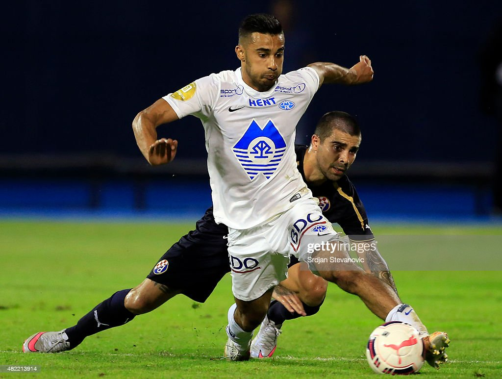 Etzaz Hussain (L) of FC Molde in action against Paulo Machado (R) of FC Dinamo Zagreb during the UEFA Champions League Third Qualifying Round 1st Leg match between FC Dinamo Zagreb and FC Molde at Maksimir stadium on July 28, 2015 in Zagreb, Croatia.