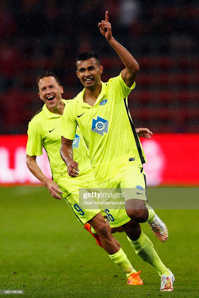Etzaz Hussain of Molde FK celebrates scoring his teams first goal of the game during the UEFA Europa League play off round second leg match between...