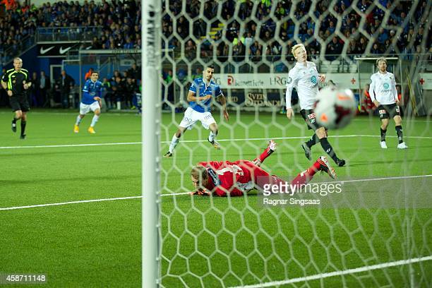 Etzaz Hussain of Molde FK scores a goal during the Tippeligaen match between Molde FK and Odd Grenland on November 9 2014 in Molde Norway