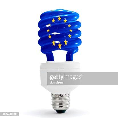 Image D Une Lampe drapeau de lunion européenne sur les économies dénergie dune lampe