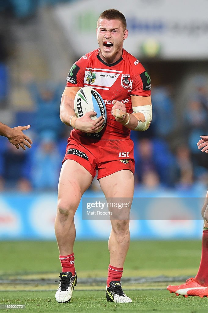 Euan Aitken of the Dragons reacts after knocking on during the round 25 NRL match between the Gold Coast Titans and the St George Illawarra Dragons...