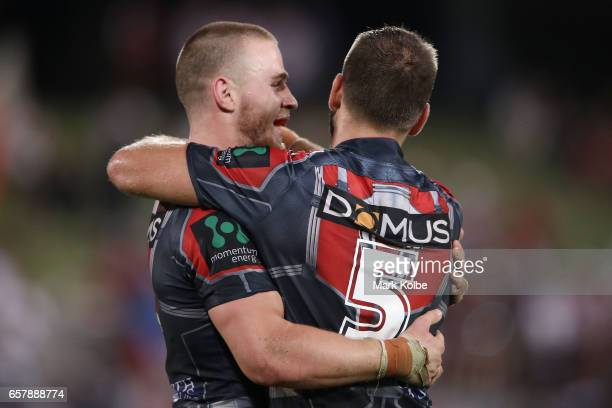 Euan AitkenJason Nightingale of the Dragons celebrate victory during the round four NRL match between the St George Illawarra Dragons and the New...