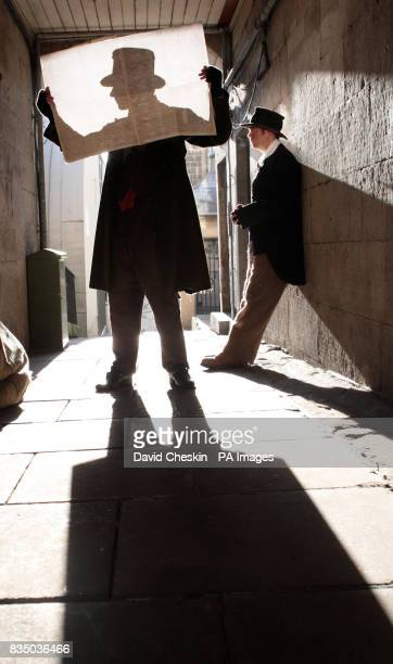 Euan Macinnes as William Burke and Andrew Henderson as William Hare mark the launch of a replica 19th Century newspaper in Edinburgh It records the...