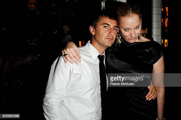 Euan Rellie and Amy Sacco attend Private Dinner hosted by CARLOS JEREISSATI CEO of IGUATEMI at Pastis on September 6 2008 in New York City