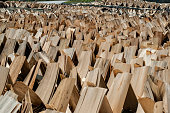Rows of eucalyptus core wood veneer, stand drying in the midday sun, Ha Giang Province, Vietnam