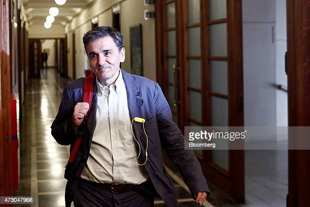 Euclid Tsakalotos Greece's deputy foreign minister arrives for a government meeting at the Greek parliament in Athens Greece on Tuesday May 12 2015...