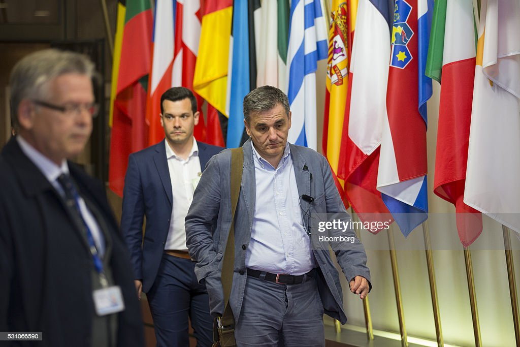 <a gi-track='captionPersonalityLinkClicked' href=/galleries/search?phrase=Euclid+Tsakalotos&family=editorial&specificpeople=14055662 ng-click='$event.stopPropagation()'>Euclid Tsakalotos</a>, Greece's finance minister, leaves a Eurogroup meeting of European finance ministers in Brussels, Belgium, on Tuesday, May 24, 2016. Greece's creditors reached an agreement that will allow the release of 10.3 billion euros ($11.5 billion) of aid and committed to ease the nation's 321 billion euros of debt. Photographer: Jasper Juinen/Bloomberg via Getty Images