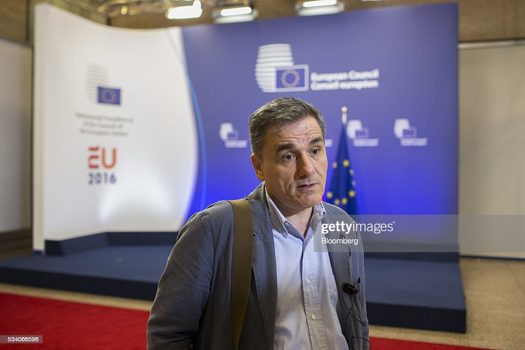 <a gi-track='captionPersonalityLinkClicked' href=/galleries/search?phrase=Euclid+Tsakalotos&family=editorial&specificpeople=14055662 ng-click='$event.stopPropagation()'>Euclid Tsakalotos</a>, Greece's finance minister, speaks after leaving a Eurogroup meeting of European finance ministers in Brussels, Belgium, on Tuesday, May 24, 2016. Greece's creditors reached an agreement that will allow the release of 10.3 billion euros ($11.5 billion) of aid and committed to ease the nation's 321 billion euros of debt. Photographer: Jasper Juinen/Bloomberg via Getty Images