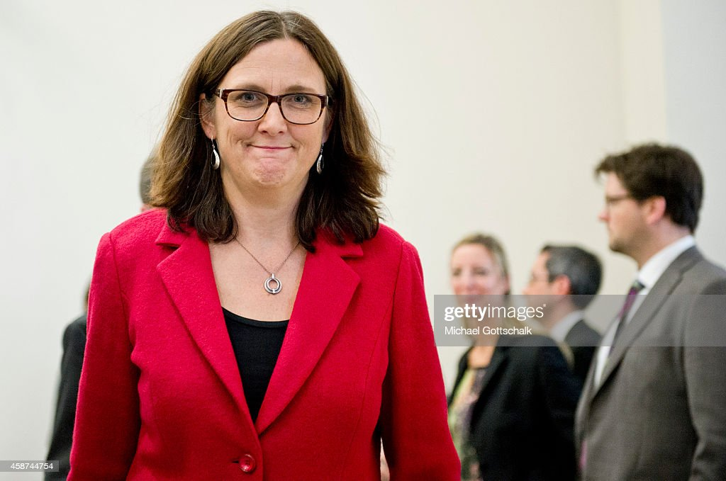 EU-commissioner for trade, <a gi-track='captionPersonalityLinkClicked' href=/galleries/search?phrase=Cecilia+Malmstroem&family=editorial&specificpeople=5934940 ng-click='$event.stopPropagation()'>Cecilia Malmstroem</a>, attends a press conference in federal ministry for economy on November 10, 2014 in Berlin, Germany.
