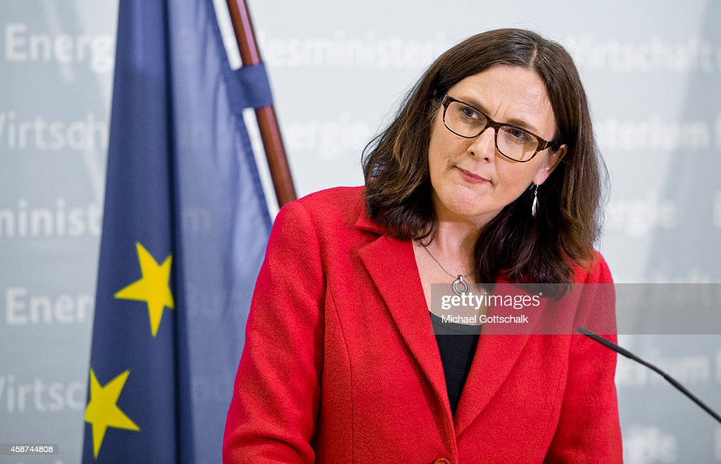 EU-commissioner for trade, Cecilia Malmstroem, attends a press conference in federal ministry for economy on November 10, 2014 in Berlin, Germany.